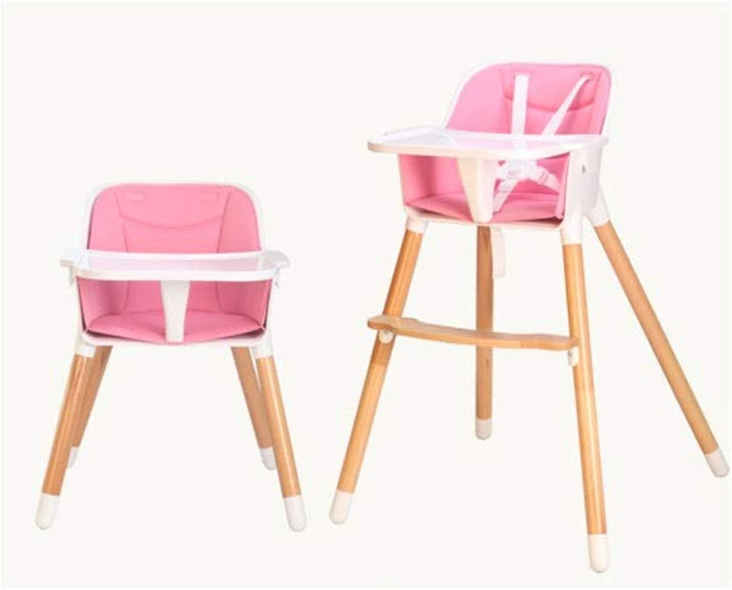 Wooden Baby Dining Chair Sleek Minimalist Comfortable Portable Detachable Baby Chair (color   Pink, Size   55  53  87cm)