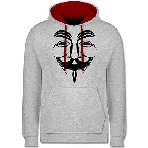 Shirtracer Nerds & Geeks - Anonymous Namenlos Hacker - S - Grau meliert/Rot - Anonymous - JH003 - Hoodie zweifarbig und Kapuzenpullover für Herren und Damen