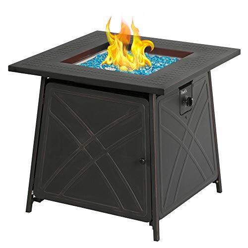 Propane Fire Pit Patio Gas Table 28' Square Fireplace - 50,000BTU | Happy Parents Depot