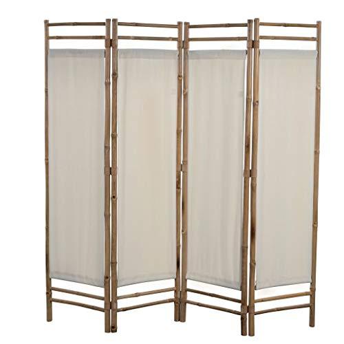 UBaymax Paravent Raumteiler Trennwand 4-teiliger aus Bambus, Faltbar Holz Spalier Raumtrenner Wandschirme Sichtschutz für Wohnung, Wohnzimmer, Terrasse, Balkon, Garten