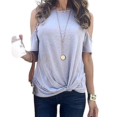 Cuello redondo fuera del hombro camiseta mujer desgaste delgado torcido manga corta top, gris, S