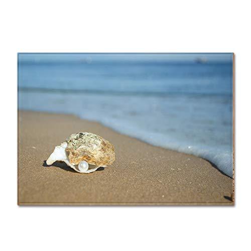MMHJS Paisaje Junto Al Mar, Alfombra De Playa De Conchas, Patrones Realistas, Tapetes Impresos, No Arrojarán Cabello, Tapetes Lavables, Frescos Y Simples