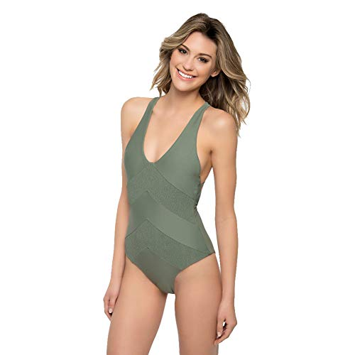 Tori Praver Women's One Piece Swimsuit Smocking Detailed Strappy Lace UP Back (Army Green, XS)