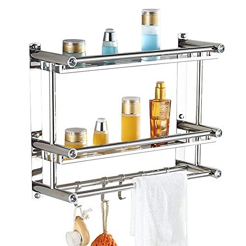 ZJWD Marco Cuadrado de baño de Acero Inoxidable de 2 Capas, Cesta de Ducha montada en la Pared, toallero, con Gancho extraíble,40cm