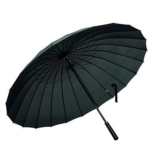 Lanker 24 Rippen GroßEn Regenschirm, Mode Langen Griff Geraden Regenschirm, Anti-Uv-Sonne/Regen KS07Green