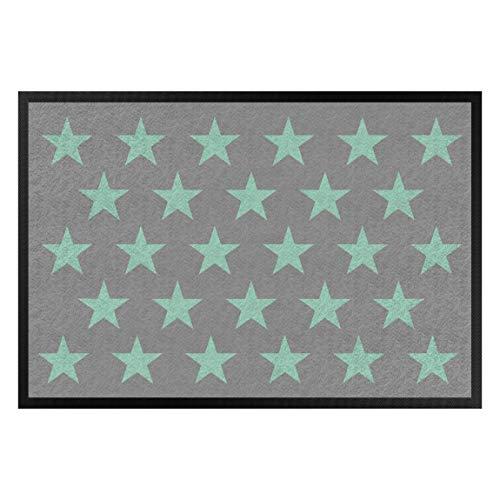 Bilderwelten Fußmatte Gummi Läufer Fußabtreter Sterne versetzt grau Mint 40 x 60 cm