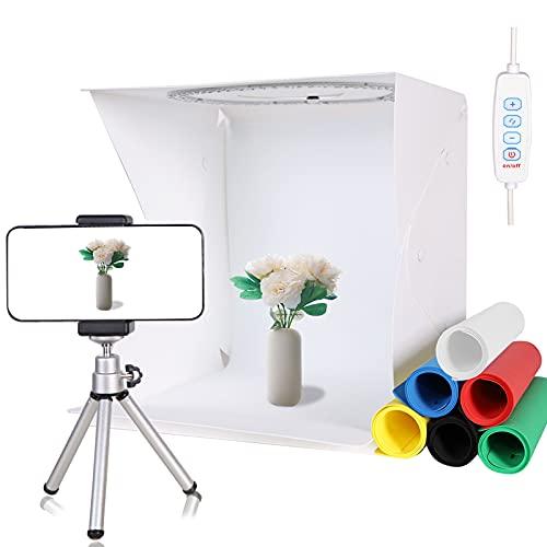 "QYXINC 12.8""x12"" Portable Photo Light Box with Mini Tripod & Phone Holder,128pcs LED Ring Light Box with Adjustable White/Warm/Soft Light,Folding Light Box Photography 6 Color Backdrops for Small Item"