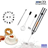 SPM USB Rechargeable Handheld Milk Frother, Dalgona, Latte, Mocha Coffee Cream Maker, Egg Beater, Juice Mixer with 2 Stainless Steel Whisk, 16 Pc Art Stencils, Pen kit