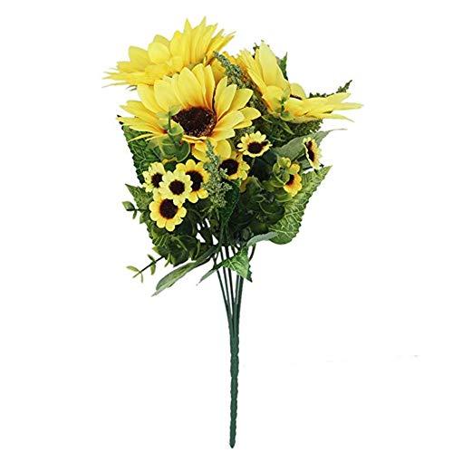 lujiaoshout 1 Bunch 18 Head Soie Artificielle Tournesol Belle Simulation Faux Jardin de Fleurs Accueil Bouquet Décoration Florale - Jaune