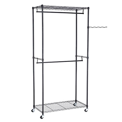SONGMICS Rolling Garment Rail Rack,Wardrobe Storage with 2 Movable Hanging Rods,2 Adjust Shelves 90 x 45 x 200 cm Black LGR60P
