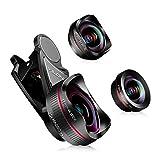 lente de la cámara del teléfono: lente ojo de pez de 198 grados HD+lente de gran angular 0.6X + lente macro 15X con 3 lentes separados para iPhone Samsung Huawei y otros smartphones(sin distorsión)