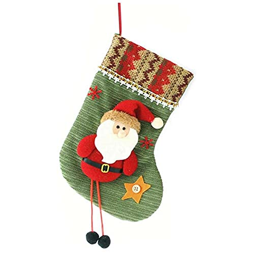 songqin, calza di Natale popolare, borsa regalo natalizia con personaggi natalizi 3D e robusto anello da appendere per camino, decorazione natalizia e casa