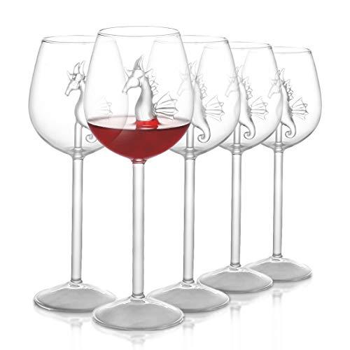 BSSN Ippocampo Bicchiere da Vino Set di 2,Calici di Cristallo Calici da Vino Rosso novità Regalo per Gli Amanti del Vino Bar Festa a casa