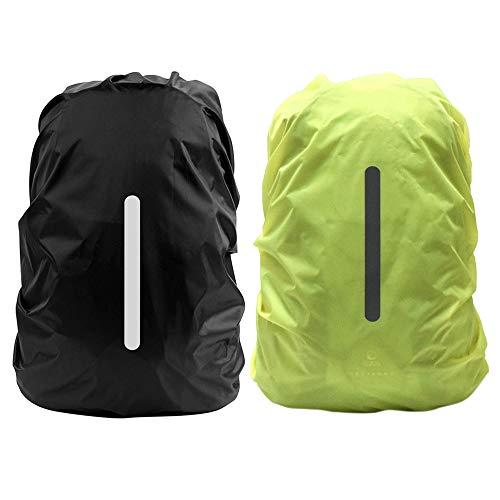 Gobesty Regenschutz für Rucksäcke, 2 Pack wasserdichte Reflektierende Rucksackhülle Rucksack Regenschutz für Wandern, Camping, Reisen, Outdoor-Aktivitäten, Grün & Schwarz
