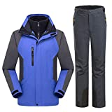 Hiking Camping Climbing Waterproof Windproof Thermal Thicken Coat and Trousers Set as is Shown S