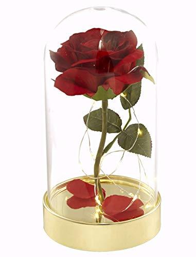 """Homeseasons rosa rossa artificiale, in seta, ispirata alla rosa incantata de """"La bella e la bestia"""", con luci incorporate, in cupola di vetro"""