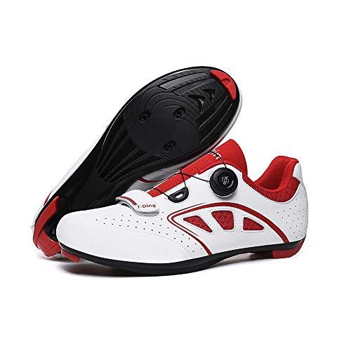 WWSUNNY Zapatillas de Ciclismo para Carretera, con Suela de Carbono y Sistema rotativo de precisión,Calzado de Ciclismo y Senderismo con AmortiguacióN Antideslizante