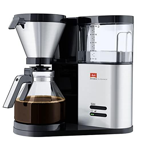 Melitta AromaElegance 1012-01, przelewowy ekspres do kawy ze szklanym dzbankiem, Aroma Control, czarny/filtr ze stali nierdzewnej, 1,2 l