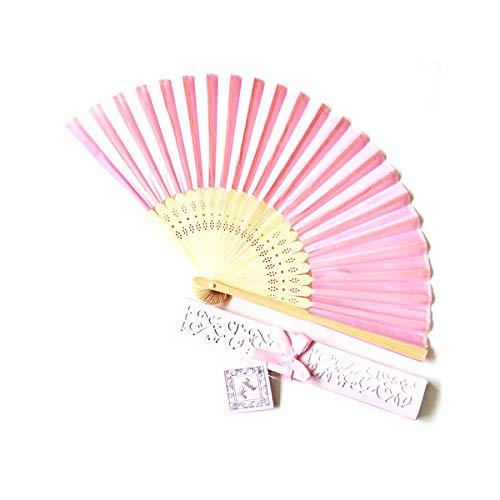 AIUIN 1 pcs Abanico Rosa de Boda Plegable de Mano Tela Regalo Recuerdo Detalle para Invitados de Boda Fiesta o Baile Arte Madera con Caja Papel para Guardar