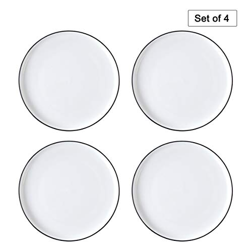 EAMATE 10 Inch Porcelain Dinner Plate - Classic Round White Serving Plate with Black Border - for Salad, Fruit, Steak, Pasta - Set of 4