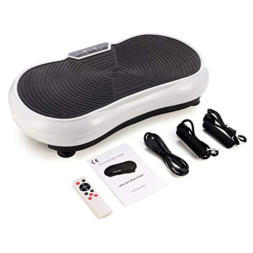 ZELUS Vibration Plate Exercise Machine with Resistance Bands   Vibrating Core Cardio Strength Training Plate for Home Workouts   Exercise & Fitness Home Gym Equipment Vibration Machine w Remote, White