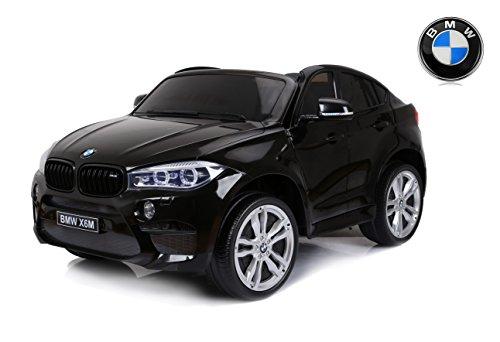 RIRICAR BMW X6 M Macchina Elettrica per Bambini, 2 x 120W, Nero, Due posti in Pelle, con Licenza Originale, Alimentato a Batteria, sportelli apribili, Freno Elettrico, 2X Motore, Batteria 12V10Ah
