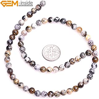 MINIATURE Moss Stone - Gem-Inside 6-8mm 15inch Natural Round Brown Dendritic Moss Opal Beads for Jewelry Making Beads DIY Beads Bracelets for Women