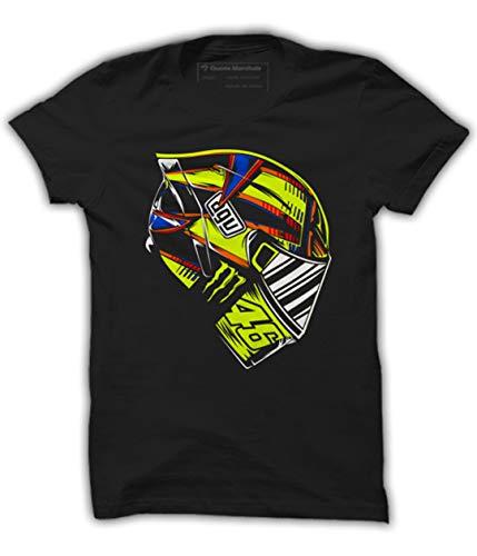 Quote Marshals MotoGP Rossi Helmet Black Cotton T-Shirt for Men
