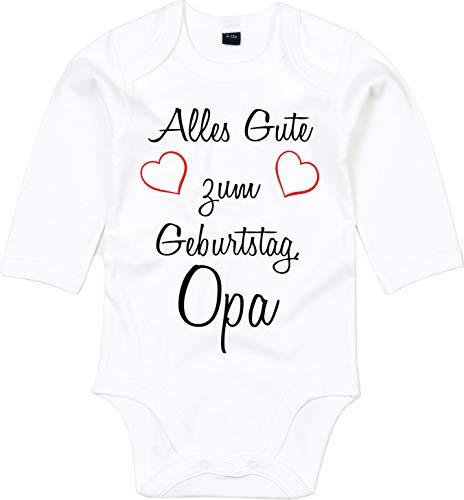 Mister Merchandise Baby Body Alles gute zum Geburtstag, Opa Glückwunsch Weiß - Langarm, 3-6