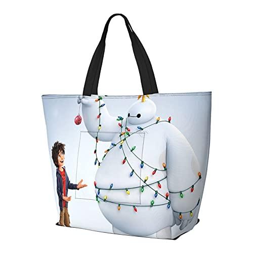 Baymax Navidad multifuncional plegable y reutilizable de gran capacidad con cremallera para mujer, bolsa de hombro, bolsa de compras, bolsa de viaje, bolsa de ordenador