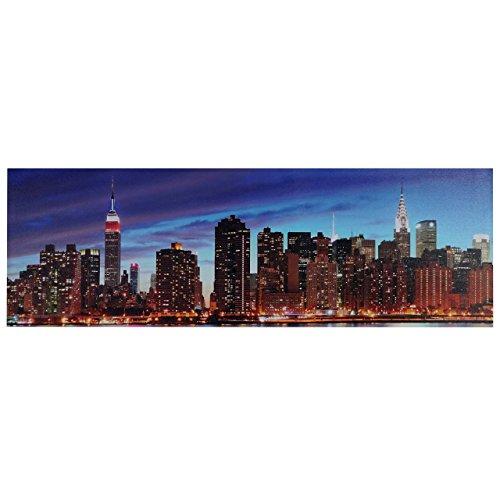 Mendler LED-Bild, Leinwandbild Leuchtbild Wandbild, Timer ~ 120x40cm New York, flackernd