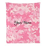 Custom Blanket with Name Text,Personalized Pink Camo Super Soft Fleece Throw Blanket for Couch Sofa Bed (50 X 60 inches)