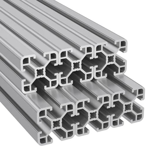 Ulber24- Aluprofil 40x40 Nut8 Typ-I,6x2m=12m Aluminium- Konstruktion- Montage- System- 4040 Alu Schiene Stecksystem Vierkant Profil I-Typ Nut 8 Endkappe Winkel