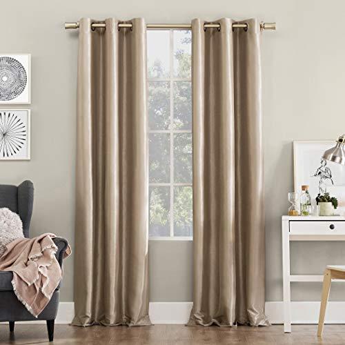 "Sun Zero Bardot Dupioni Faux Silk 100% Blackout Grommet Curtain Panel, 40"" x 84"", Oatmeal"