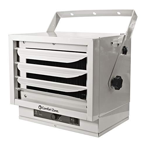 CCC Comfort Zone - Calefactor eléctrico de acero para montaje en techo, 3 niveles de calor hasta 5.000 vatios, color blanco