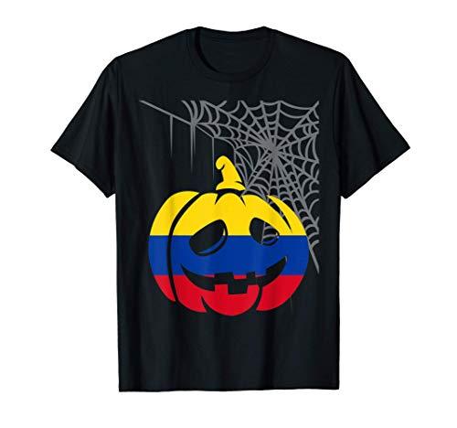 Disfraz Halloween Calabaza con Bandera de Colombia Camiseta