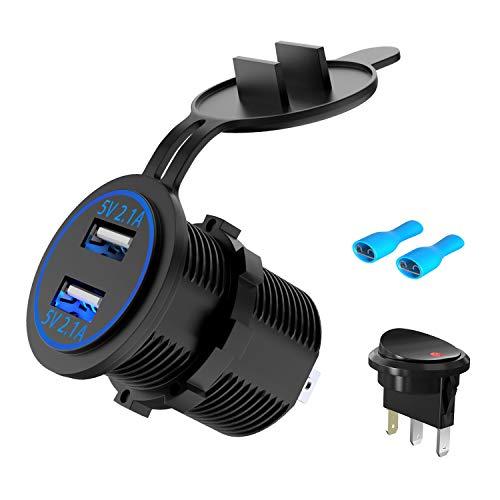 USB Steckdose Auto KFZ Ladegerät Buchse 12V/24V Wasserdicht Dual USB Anschluss Zigarettenanzünder Einbau Steckdose Adapter 5V 4.2A Dose Schnellladung für Boot Motorrad ATV LKW Wohnwagen