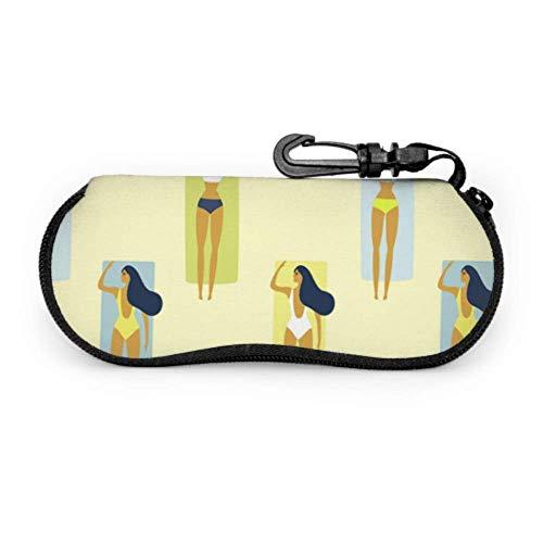 Fundas de gafas Tomar el sol Hermosa Lady Girl Eyeglasse Estuches Simple Ultra Ligero Neopreno con Cremallera Almacenaje Lente Suave Sunglasses Case 8 * 17cm
