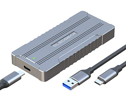 USB 3.1 NVMe PCIe M.2 SSD Enclosure - ElecGear NV-C01 External Aluminum Cooling Case, 2280 PCI-E M2 M-Key NGFF HDD Card Reader Adapter, NVMe Hard Disk Drive Converter Caddy Box, USB Type A & C cable