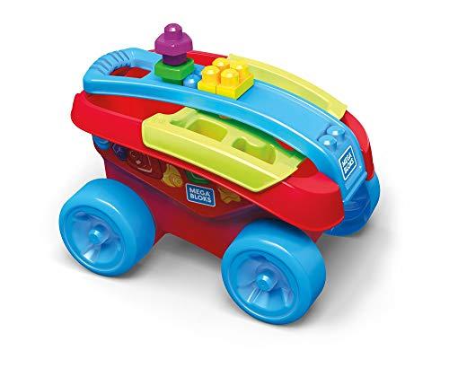 Mega Bloks My Wagon vormenorder, rood of roze, steentjes en bouwspel, 25-delig, speelgoed voor baby's en kinderen van 1 tot 5 jaar Eén maat multicolor