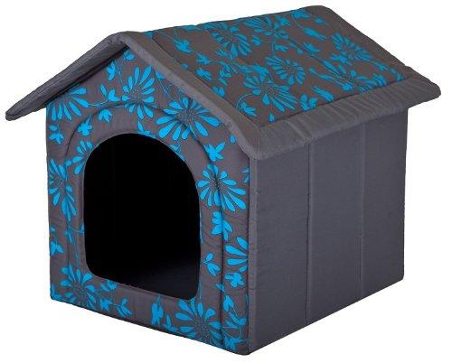 Hobbydog Panier pour Chien ou Chat en Forme de Niche Motifs Fleurs Bleues