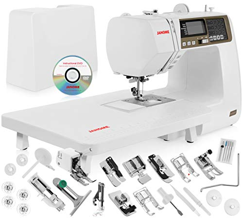 "Janome 4120QDC Computerized Sewing Machine w/Hard Case + Extension Table + Instructional DVD + 1/4"" Seam Foot w/Guide + Overedge Foot + Zig Zag Foot + Buttonhole Foot + More!"