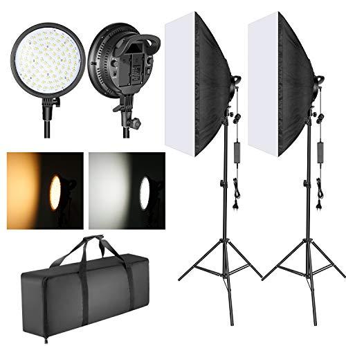Neewer LED-Softbox-Beleuchtung Set: 20x28 Zoll Softbox, 48W dimmbare 2-Farben-LED-LED-Leuchtenkopf mit Batteriefach und Lichtstativ für Innen- / Außenfotografie