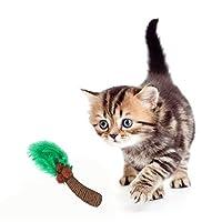 WASAIO ペットのプレイ玩具ココナッツツリー型研削クロー玩具のために猫ロープチューおもちゃ織幹と葉フェザー