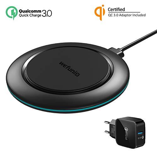 Wefunix Qi Caricabatterie Wireless Veloce Caricatore Wireless Rapida [USB C+Adattatore QC 3.0], 7,5W per iPhone 12 11 Pro XS Max XR X 8 SE, 10W per Samsung Galaxy S20 S10 S9 S8 S7 Note 20 10 9 8 5 ecc