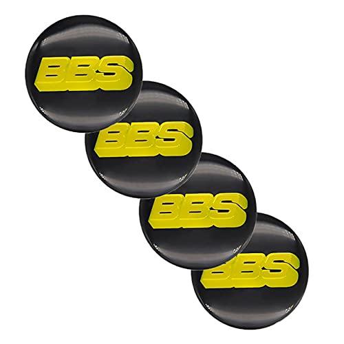 WHALLO 4 Piezas de 65 mm, Casquillos centrales de Rueda de Coche, Pegatinas de Emblema para Accesorios de Coche BBS-Logo, Pegatinas de Cubierta de Cubo modificadas