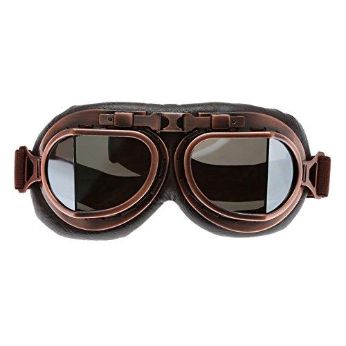 Hjälm steampunk vintage glasögon solglasögon för utomhussport motocross racer – silver lins