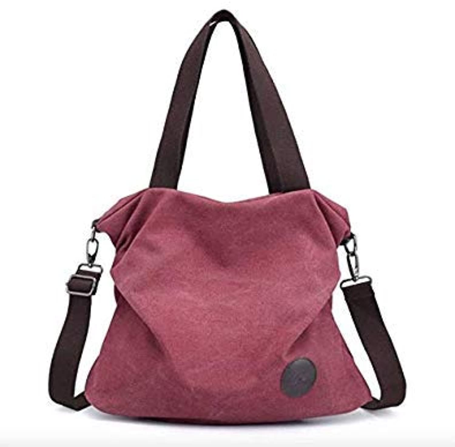 Bloomerang Brand Large Pocket Casual Tote Women's Handbag Shoulder Crossbody Handbags Canvas Leather Capacity Bags for Women color Wine red-Small