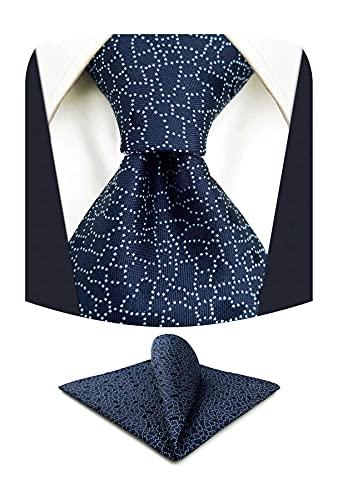 S&W SHLAX&WING Corbatas para hombre Azul oscuro Corbatas de novio Corbata extra larga de boda con conjunto de pañuelo de bolsillo