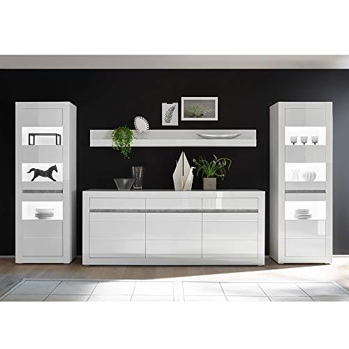 Lomadox Wohnwand-Set mit Vitrinen inkl. LED und Sideboard in weiß Hochglanz